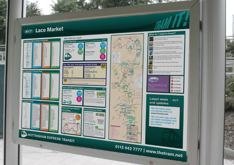 Tram stop information boards